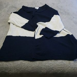 Gently used white and navy cardigan